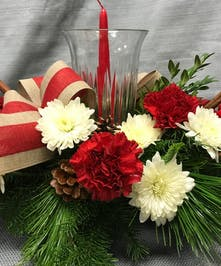Christmas Centerpiece With Glass Hurricane