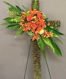 Orange Burst Wicker Cross - Adrian Durban Florist