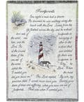 Footprints Lighthouse  Tapestry Throw Blanket