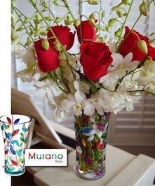 """Imported Italian MURANO """"Laurus Vase"""""""