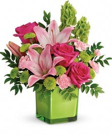 Pink and Vibrant Green Bouquet
