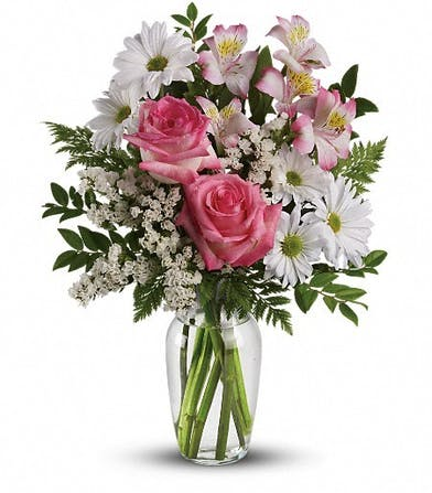 Pink Roses, Pink Alstroemeria & White Daisy Spray Chrysanthemums