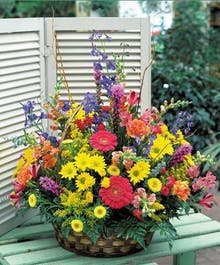 """A Bright Wildflower Sympathy Basket"""
