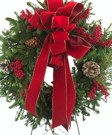 Classic Christmas Wreath on Easel