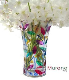 Genuine Laurus Art Glass Vase by Murano   (from Italy)