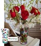 Vase with Orchids & Red Roses