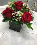 Cube Vase with 3 Red Roses