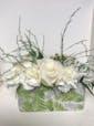 Oblong Vase w/white Rose, carnations & greens
