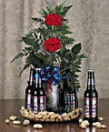 6 Pack with Red Roses