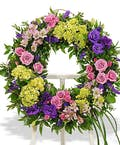 Bright mix wreath on easel